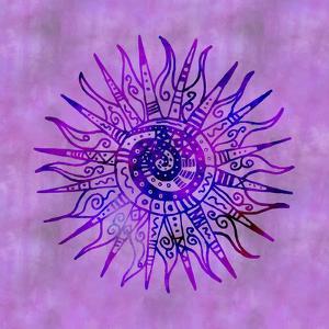 Sun Doodle Purple - Square by Lebens Art