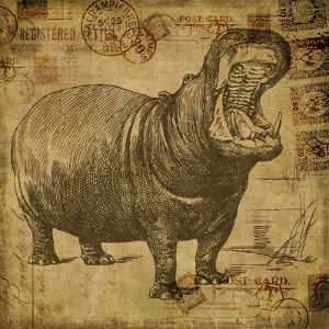 Vintage Hippo Sepia - Square by Lebens Art