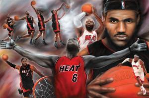 LeBron James Collage Miami Heat NBA Sports Poster
