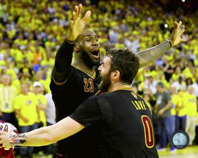 Lebron James & Kevin Love celebrate winning Game 7 of the 2016 NBA Finals