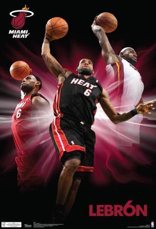 Lebron James Triple Dunk Miami Heat Nba Sports Poster