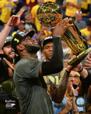 Lebron James with the NBA Championship Trophy Game 7 of the 2016 NBA Finals