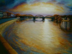 Barnes Bridge, 2006 Thames River Sunset by Lee Campbell
