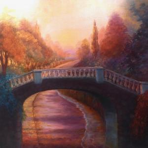 High Tide Twickenham Embankment  2020  (oil on canvas) by Lee Campbell