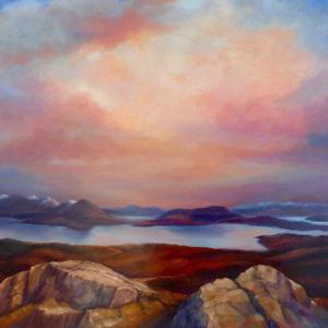 Highland Loch, 2019, (oil on canvas) by Lee Campbell
