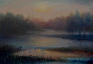 Morning Mist with Kingfisher, 2018 by Lee Campbell