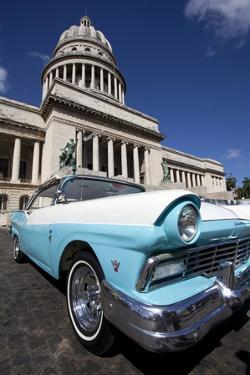 Blue Vintage American Car Parked Opposite the Capitolio by Lee Frost