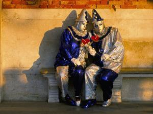 Couple Dressed in Masks and Costumes Taking Part in Venice Carnival, Venice, Veneto, Italy by Lee Frost