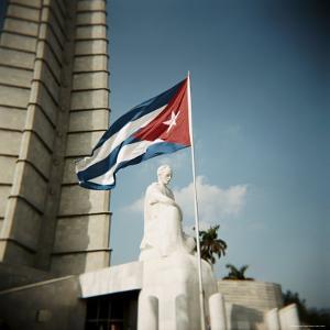 Cuban Flag and Jose Marti Memorial, Plaza De La Revolucion, Havana, Cuba, West Indies by Lee Frost