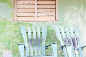 Detail of Wall and Rocking Chair with Faded Paintwork in Green and Blue by Lee Frost