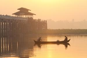 Fishermen on Taungthaman Lake in Dawn Mist by Lee Frost