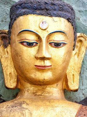 Golden Statue of Buddha Near Swayambhunath, Kathmandu, Nepal, Asia by Lee Frost