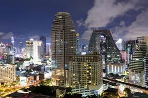 High Rise Buildings of Bangkok at Night from Rembrandt Hotel and Towers by Lee Frost