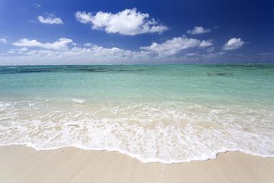 Idyllic Beach Scene with Blue Sky, Aquamarine Sea and Soft Sand, Ile Aux Cerfs