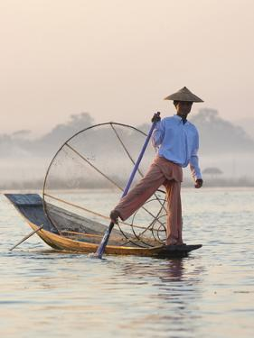 Intha 'Leg Rowing' Fishermen at Sunset on Inle Lake by Lee Frost