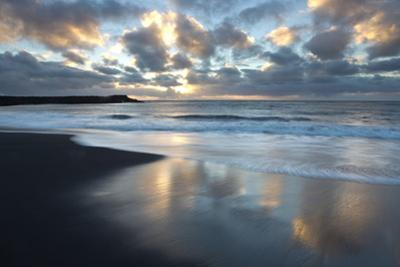Looking Towards the North Atlantic at Sunrise from the Black Volcanic Sand Beach at Vik I Myrdal by Lee Frost