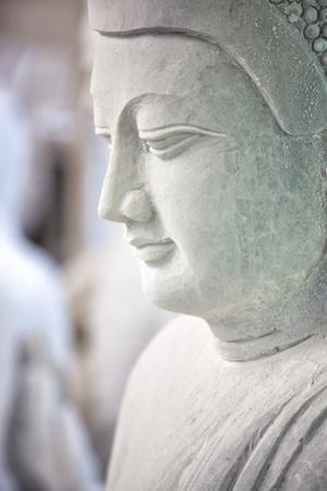 Marble Buddha Images Waiting to Be Finished at a Stone Carver's in Amarapura by Lee Frost