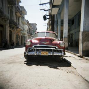 Old Red American Car, Havana, Cuba, West Indies, Central America by Lee Frost