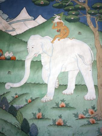 Painting of the Four Harmonious Friends in Buddhism, Elephant, Monkey, Rabbit and Partridge, Inside by Lee Frost