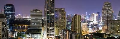 Panoramic View of Bangkok at Night from Rembrandt Hotel and Towers by Lee Frost