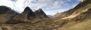 Panoramic View of Glencoe Showing the Three Sisters of Glencoe Mountains, Scotland by Lee Frost