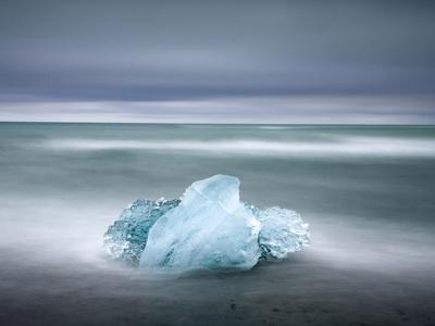 Piece of Glacial Ice Washed Ashore By the Incoming Tide Near Glacial Lagoon at Jokulsarlon, Iceland