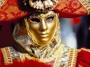 Portrait of a Person Dressed in Mask and Costume Taking Part in Carnival, Venice, Italy by Lee Frost