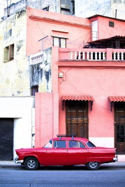 Red Vintage American Car Parked on a Street in Havana Centro by Lee Frost