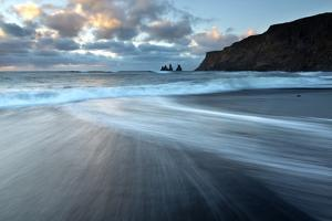 Sea Stacks of Reynisdrangar at Sunrise from the Black Volcanic Sand Beach at Vik I Myrdal by Lee Frost