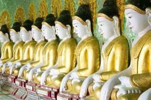 Some of the 45 Buddha Images Found at a Crescent-Shaped Colonnade at Umin Thounzeh on Sagaing Hill by Lee Frost