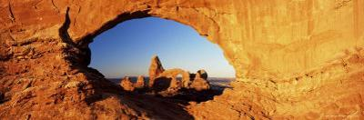 Turret Arch Through North Window at Sunrise, Arches National Park, Moab, Utah, USA