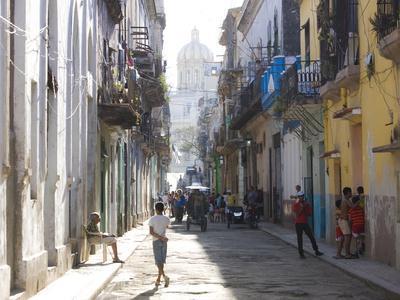 Typical Residential Street in Havana Vieja, Havana, Cuba