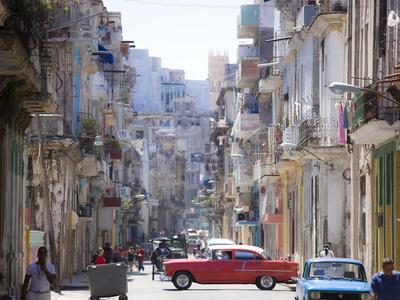 View Along Congested Street in Havana Centro, Cuba