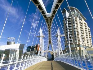 View Along Pedestrian Suspension Bridge at Salford Quays, Salford, Manchester, England by Lee Frost