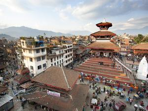 View over Durbar Square from Rooftop Cafe Showing Temples and Busy Streets, Kathmandu, Nepal, Asia by Lee Frost