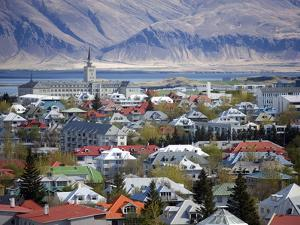 View Over Reykjavik With Mountains Looming in the Distance, Reykjavik, Iceland, Polar Regions by Lee Frost