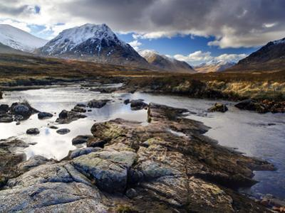 View Over River Etive Towards Snow-Capped Mountains, Rannoch Moor, Near Fort William, Scotland by Lee Frost
