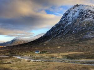 Winter View of Rannoch Moor Showing Lone Whitewashed Cottage on the Bank of a River, Scotland by Lee Frost