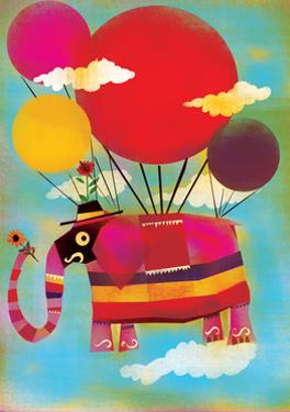 Elephant Flying on Balloons by Lee Hodges