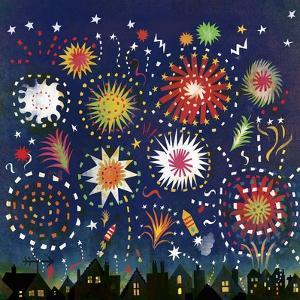 Multicolored Fireworks in Night Sky Above Houses by Lee Hodges