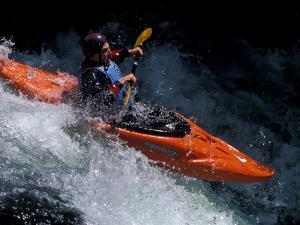 Kayaker on the White Salmon River, Gorge Games, Oregon, USA by Lee Kopfler