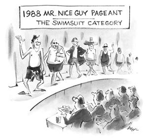 1988 Mr. Nice Guy Pageant-The Swimsuit Category - New Yorker Cartoon by Lee Lorenz