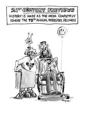 21st CENTURY PREVIEWS, History is Made as the Media Completely Ignore the … - New Yorker Cartoon by Lee Lorenz