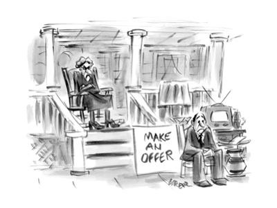 A woman sitting on a porch is selling her husband along with other things ? - New Yorker Cartoon by Lee Lorenz