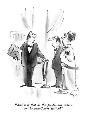 """""""And will that be the pro-Contra section or the anti-Contra section?"""" - New Yorker Cartoon by Lee Lorenz"""