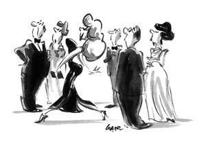 Buxom woman walking through crowd. - New Yorker Cartoon by Lee Lorenz
