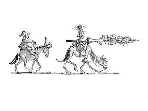 Don Quixote rides along, followed by Sancho Panza. Don Quixote carries a l… - New Yorker Cartoon by Lee Lorenz
