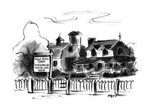 Farm house with sign, 'Mile Brook Farm, Surrounded by the F.B.I. since 198… - New Yorker Cartoon by Lee Lorenz