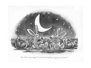 """For Pete's sake, stupid! It won't help anything if <U>we<$> boycott lettu - New Yorker Cartoon by Lee Lorenz"
