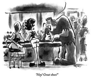 """Hey!  Great shoes!"" - New Yorker Cartoon by Lee Lorenz"